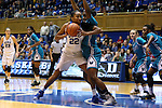 31 December 2015: Duke's Oderah Chidom (22) and UNCW's Rebekah Banks (right). The Duke University Blue Devils hosted the University of North Carolina Wilmington Seahawks at Cameron Indoor Stadium in Durham, North Carolina in a 2015-16 NCAA Division I Women's Basketball game. Duke won the game 78-56.