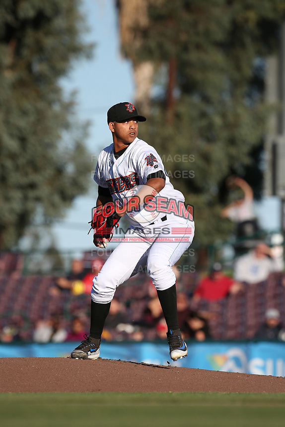 Jose Rodriguez (41) of the Inland Empire 66ers pitches against the Lake Elsinore Storm at San Manuel Stadium on April 29, 2017 in San Bernardino, California. Inland Empire defeated Lake Elsinore, 3-1. (Larry Goren/Four Seam Images)