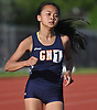 Samantha Law of Great Neck North legs out a victory in the girls' 800 meter race during the Nassau County AA track & field championship at MacArthur High School on Wednesday, May 23, 2018.