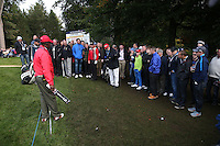 Darren Fichardt (RSA) has to move mountains to get a clear swing at the 16th pin from the trodden ground and spectators  during the Final Round of the British Masters 2015 supported by SkySports played on the Marquess Course at Woburn Golf Club, Little Brickhill, Milton Keynes, England.  11/10/2015. Picture: Golffile | David Lloyd<br /> <br /> All photos usage must carry mandatory copyright credit (© Golffile | David Lloyd)