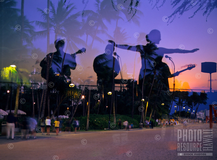 Hula dancer at dusk, Superimposed image