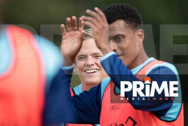 Alex Samuel of Wycombe Wanderers pre match during the behind closed doors friendly between Brentford B and Wycombe Wanderers at Brentford Football Club Training Ground & Academy<br /> 100 Jersey Road, TW5 0TP, United Kingdom on 3 September 2019. Photo by Andy Rowland.