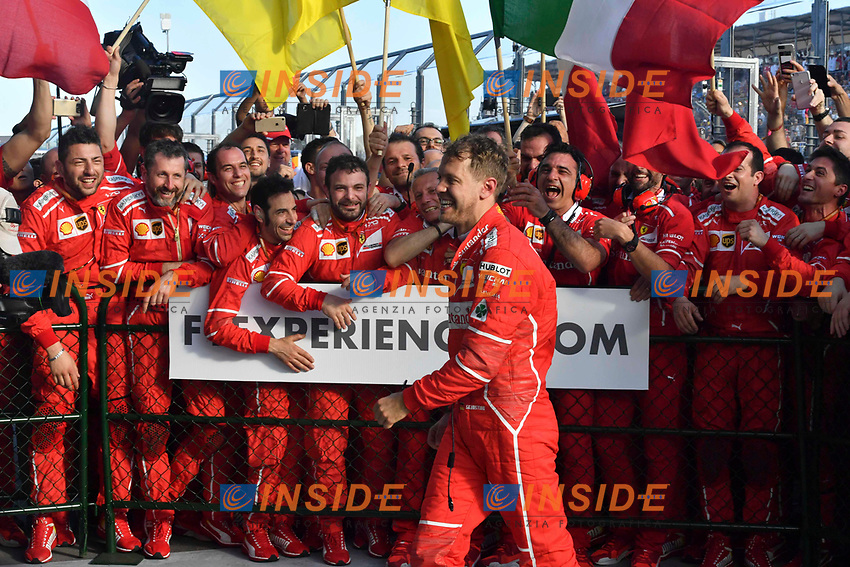Race winner Sebastian Vettel (GER) Ferrari celebrates in parc ferme with the team at Formula One World <br /> Championship, Rd1, Australian Grand Prix, Practice, Albert Park, Melbourne, Australia, Friday 24 March 2017.<br /> Vettel festeggia con i meccanici e la squadra <br /> Foto Sutton/Panoramic/Insidefoto