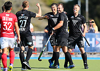 Blacksticks players celebrate a Simon Child goal  during the Olympic Qualifier Hockey match between the Blacksticks Men and Korea at TET Multisport Centre in Stratford, New Zealand on Saturday, 2 November 2019. Photo: Simon Watts / www.bwmedia.co.nz