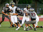 Torrance, CA 09/19/15 - Robert Chacon (Torrance #13), Marcello Merola (Peninsula #8) and AJ Seymour (Peninsula #13) in action during the Peninsula Panthers - Torrance Tartars Varsity football game at Torrance High School