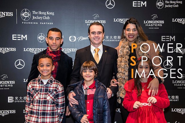 Hong Kong jockey Joao Moreira (top row, left) arrives Longines Masters of Hong Kong with his family on 10 February 2017 at the Asia World Expo in Hong Kong, China. Photo by Weixiang Lim / Power Sport Images