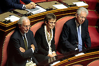 L'architetto Renzo Piano e la neurobiologa Elena Cattaneo accanto a Mario Monti<br /> Roma 04/09/2013 Prima seduta in Aula per i Senatori a vita appena nominati<br /> First session for the new appointed Senators for life. <br /> Photo Samantha Zucchi Insidefoto