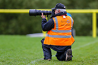 Photographer Iain Frankish during the Greene King IPA Championship match between Ampthill RUFC and Nottingham Rugby on Ampthill Rugby's Championship Debut at Dillingham Park, Woburn St, Ampthill, Bedford MK45 2HX, United Kingdom on 12 October 2019. Photo by David Horn.