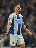 Brighton & Hove Albion's Anthony Knockaert post match celebration an emotion 1-0 win<br /> <br /> <br /> Photographer David Horton/CameraSport<br /> <br /> The Premier League - Brighton and Hove Albion v Huddersfield Town - Saturday 2nd March 2019 - The Amex Stadium - Brighton<br /> <br /> World Copyright © 2019 CameraSport. All rights reserved. 43 Linden Ave. Countesthorpe. Leicester. England. LE8 5PG - Tel: +44 (0) 116 277 4147 - admin@camerasport.com - www.camerasport.com