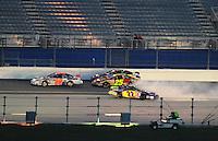 Jul. 4, 2008; Daytona Beach, FL, USA; Nascar Nationwide Series driver Josh Wise (22) spins during the Winn-Dixie 250 at Daytona International Speedway. Mandatory Credit: Mark J. Rebilas-