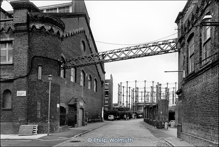 The German Gymnasium and gas holders, Kings Cross, 1990.