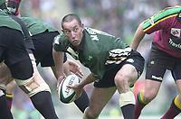 10/04/2002 - Powergen National Cup Final - Twickenham.London Irish vs Northampton..Exiles scrum half Hentie Marten works at the back on the scrum..