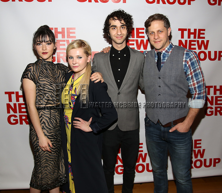 """Isabelle Fuhrman, Abigail Breslin, Alex Wolff, Joe Tippett attend the Opening Night of The New Group World Premiere of """"All The Fine Boys"""" at the The Green Fig Urban Eatery on March 1, 2017 in New York City."""