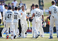 25th November 2019; Mt Maunganui, New Zealand;  Neil Wagner and team mates celebrate winning the match International test match day 5 of 1st test, New Zealand versus England;  at Bay Oval, Mt Maunganui, New Zealand.