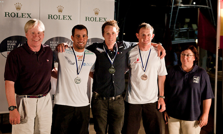 (L to R).2nd: 179007, Fleet: Laser, Bruno Fontes, Country: BRA.1st: 201494, Fleet: Laser Radial, Laura Cosentino, Country: ITA.3rd: 199330, Fleet: Laser, David Wright, Country: CAN