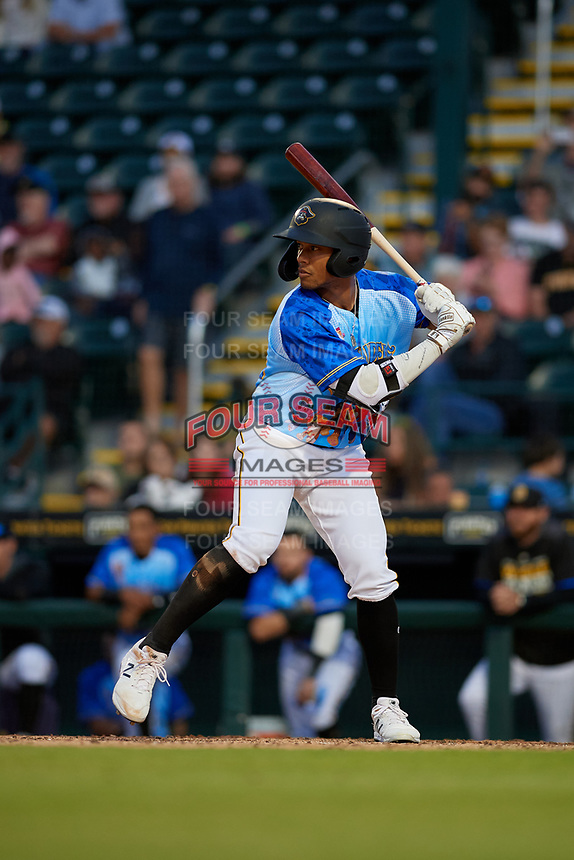 Bradenton Marauders Cal Mitchell (34) during a Florida State League game against the Jupiter Hammerheads on April 20, 2019 at LECOM Park in Bradenton, Florida.  Bradenton defeated Jupiter 3-2.  (Mike Janes/Four Seam Images)