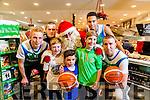 At the Launch of the Garvey's SuperValu sponsorship of the Tralee Warriors were Santa with Darren O'Sullivan, Stephen Hanafin,  Kian O'Shea, Rian Twohey, Oisín O'Shea,  Trae Pemberton, Goran Pantovic
