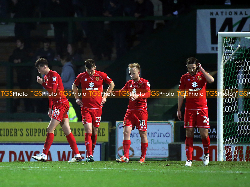Mk Dons players react after conceding their fourth goal during Yeovil Town vs MK Dons, Checkatrade Trophy Football at Huish Park on 6th December 2016