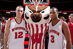 March 3, 2010: Wisconsin Badgers seniors Jason Bohannon (12) and Trevon Hughes (3) pose for a photo with mascot Bucky Badger after a Big Ten Conference NCAA basketball game against the Iowa Hawkeyes at the Kohl Center on March 3, 2010 in Madison, Wisconsin. The Badgers won 67-40. (Photo by David Stluka)