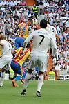 Real Madrid´s Chicharito and Valencia´s Nicolas Otamendi during 2014-15 La Liga match between Real Madrid and Valencia at Santiago Bernabeu stadium in Madrid, Spain. May 09, 2015. (ALTERPHOTOS/Luis Fernandez)