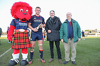 Rory Bartle of London Scottish (2nd left) receives the Man of the Match award after the Greene King IPA Championship match between London Scottish Football Club and Jersey at Richmond Athletic Ground, Richmond, United Kingdom on 18 February 2017. Photo by David Horn / PRiME Media Images.