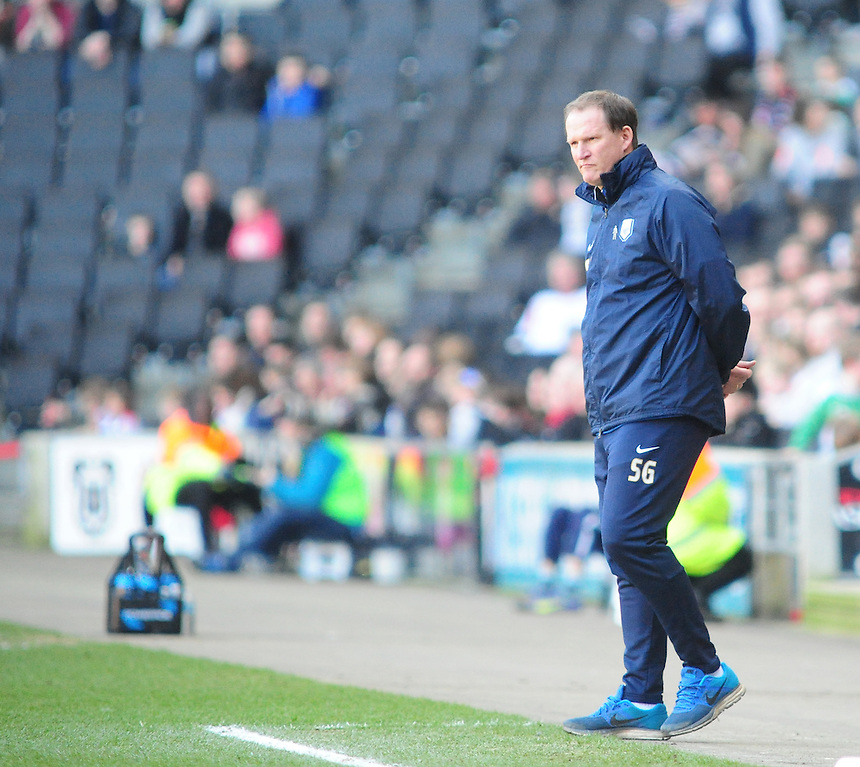 Preston North End manager Simon Grayson <br /> <br /> Photographer Andrew Vaughan/CameraSport<br /> <br /> Football - The Football League Sky Bet League One - Saturday 7th March 2015 - Milton Keynes Dons v Preston North End - Stadium:mk - Milton Keynes<br /> <br /> &copy; CameraSport - 43 Linden Ave. Countesthorpe. Leicester. England. LE8 5PG - Tel: +44 (0) 116 277 4147 - admin@camerasport.com - www.camerasport.com