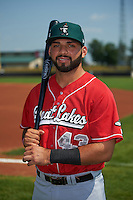 Great Lakes Loons catcher Julian Leon (43) poses for a photo before a game against the Clinton LumberKings on August 16, 2015 at Ashford University Field in Clinton, Iowa.  Great Lakes defeated Clinton 3-2 in ten innings.  (Mike Janes/Four Seam Images)
