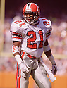 Atlanta Falcons Deion Sanders (21) during a game from his 1989 rookie season with the Atlanta Falcons.  Deion Sanders played for 14 years with 5 different teams, was an 8-time Pro Bowler and was inducted into the Pro Football Hall of Fame in 2011.(SportPics)