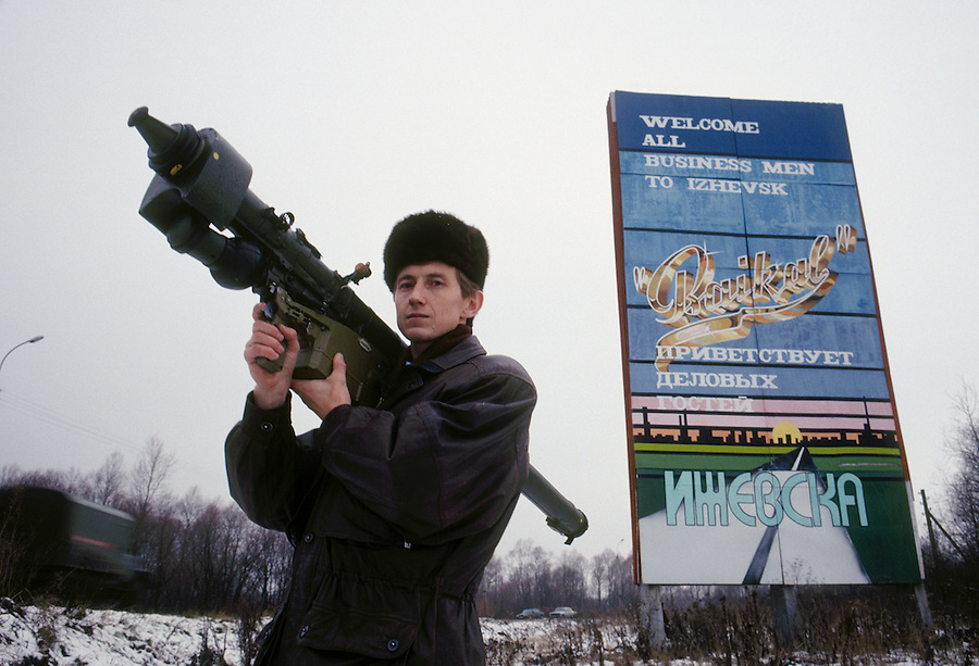 Izhevsk, Russia, 1992..Alexander Zavarzin, Export Director of the arms firm Baikal, with the company's Igla ground to air missile.