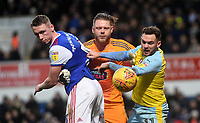 Rotherham United's Jon Taylor battles with Ipswich Town's Dean Gerken and Matthew Pennington<br /> <br /> Photographer Hannah Fountain/CameraSport<br /> <br /> The EFL Sky Bet Championship - Ipswich Town v Rotherham United - Saturday 12th January 2019 - Portman Road - Ipswich<br /> <br /> World Copyright &copy; 2019 CameraSport. All rights reserved. 43 Linden Ave. Countesthorpe. Leicester. England. LE8 5PG - Tel: +44 (0) 116 277 4147 - admin@camerasport.com - www.camerasport.com