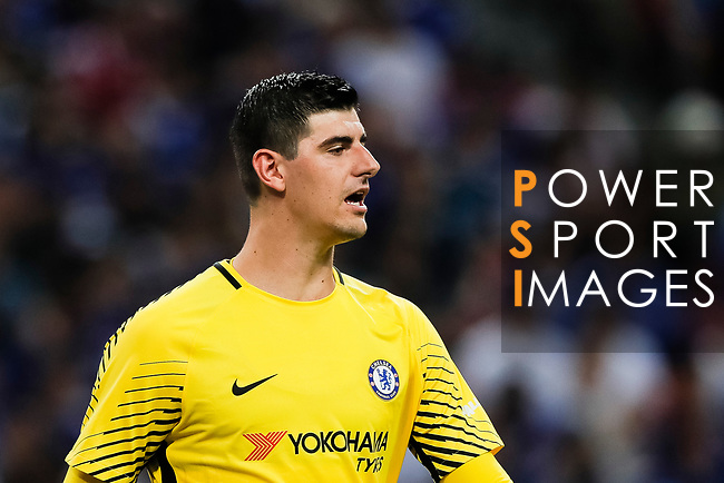 Chelsea Goalkeeper Thibaut Courtois in action during the International Champions Cup match between Chelsea FC and FC Bayern Munich at National Stadium on July 25, 2017 in Singapore. Photo by Marcio Rodrigo Machado / Power Sport Images
