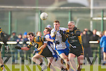 AIB GAA football all-Ireland junior club championship semi-final, Fuerty vs Keel. Held on saturday in Mick Neville Park, Rathkeale.<br /> <br /> Keel's Thomas Ladden and Fuerty's Fran Hanlon going in hard to gain possession.