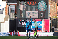 The scoreboard reads as 1 2 on 78 minutes during the Sky Bet League 2 match between Grimsby Town and Wycombe Wanderers at Blundell Park, Cleethorpes, England on 4 March 2017. Photo by Andy Rowland / PRiME Media Images.