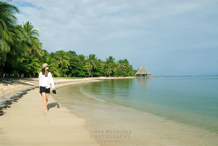 Out for a stroll on the beautiful tropical beach, Isla Bastimentos, Bocas Del Toro, Panama