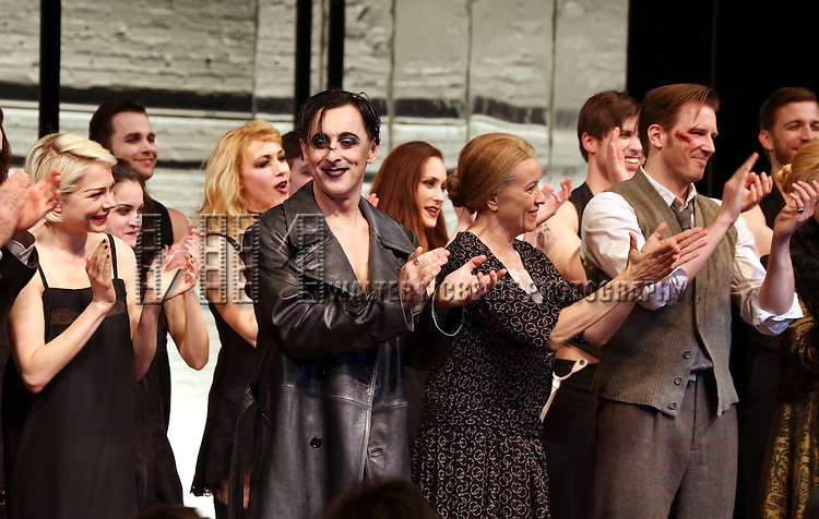 Michelle Williams, Alan Cumming, Linda Emond and Bill Heck during the Broadway Opening Night Performance Curtain Call for 'Cabaret' at Studio 54 on April 24, 2014 in New York City.