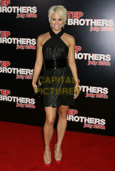 "KIMBERLY WYATT . ""Step Brothers"" Los Angeles Premiere held at Mann's Village Theatre, Westwood, California, USA, .15 July 2008..full length black dress halterneck  belt platform shoes peep toe.CAP/ADM/MJ .©Michael Jade/Admedia/Capital Pictures"