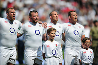 James Haskell, Matt Mullan, Mike Brown and Dylan Hartley of England sing the national anthem. Old Mutual Wealth Cup International match between England and Wales on May 29, 2016 at Twickenham Stadium in London, England. Photo by: Patrick Khachfe / Onside Images