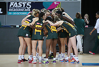 04.09.2016 South Africa's prior to the Netball Quad Series match between England and South Africa played at Margaret Court Arena in Melbourne. Mandatory Photo Credit ©Michael Bradley.
