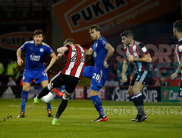 Caolan Lavery of Sheffield Utd takes a shot during the Carabao Cup, second round match at Bramall Lane, Sheffield. Picture date 22nd August 2017. Picture credit should read: Simon Bellis/Sportimage