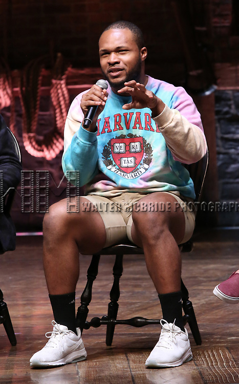 """Sean Green Jr. during a Q & A before The Rockefeller Foundation and The Gilder Lehrman Institute of American History sponsored High School student #eduHam matinee performance of """"Hamilton"""" at the Richard Rodgers Theatre on May 9, 2018 in New York City."""