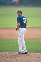 Helena Brewers starting pitcher Justin Bullock (25) prepares to deliver a pitch during a Pioneer League game against the Grand Junction Rockies at Kindrick Legion Field on August 19, 2018 in Helena, Montana. The Grand Junction Rockies defeated the Helena Brewers by a score of 6-1. (Zachary Lucy/Four Seam Images)