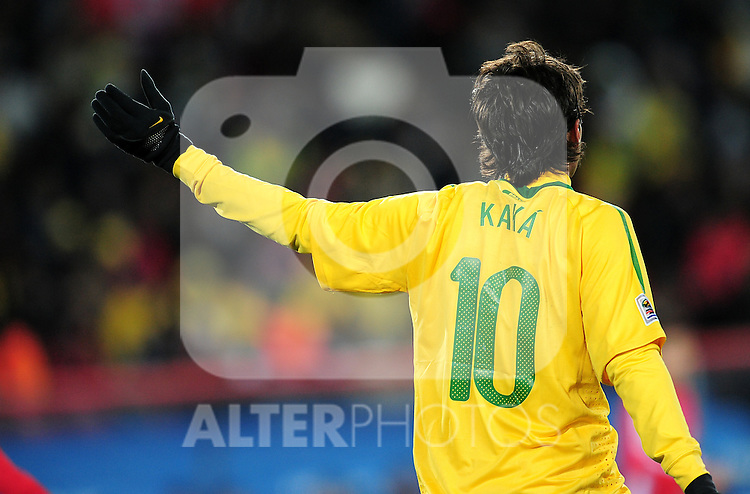Kaka during the 2010 FIFA World Cup South Africa Group G match between Brazil and North Korea at Ellis Park Stadium on June 15, 2010 in Johannesburg, South Africa.