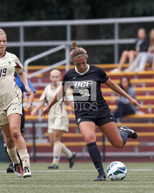 University of Central Florida midfielder Madison Barney (22) passes the ball. After two overtime periods, Boston College tied University of Central Florida, 2-2, at Newton Campus Field, September 9, 2012.