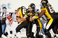Jul 7, 2007; Hamilton, ON, CAN; Hamilton Tiger-Cats quarterback (11) Jason Maas tosses a pass during the 2007 season home opener against the Toronto Argonauts at Ivor Wynne Stadium. The Argos defeated the Tiger-Cats 30-5. Mandatory Credit: Ron Scheffler, Special to the Spectator.