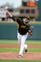 Pitcher Edinson Volquez (36) of the Pittsburgh Pirates during a spring training game against the New York Yankees on February 26, 2014 at McKechnie Field in Bradenton, Florida.  Pittsburgh defeated New York 6-5.  (Mike Janes/Four Seam Images)