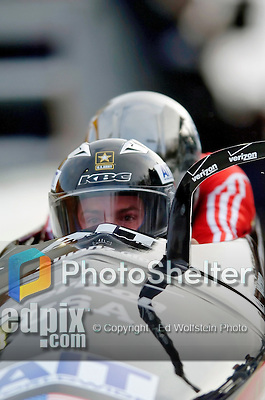 19 November 2005: Michael Kohn pilots the USA 3 sled to a second place, silver medal finish at the 2005 FIBT AIT World Cup Men's 2-Man Bobsleigh Tour at the Verizon Sports Complex, in Lake Placid, NY. Mandatory Photo Credit: Ed Wolfstein.
