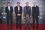 Michael Douglas, Feng Xiaogang (black T-shirt), and Wang Zhonglei (no tie) walk the Red Carpet event at the World Celebrity Pro-Am 2016 Mission Hills China Golf Tournament on 20 October 2016, in Haikou, China. Photo by Marcio Machado / Power Sport Images