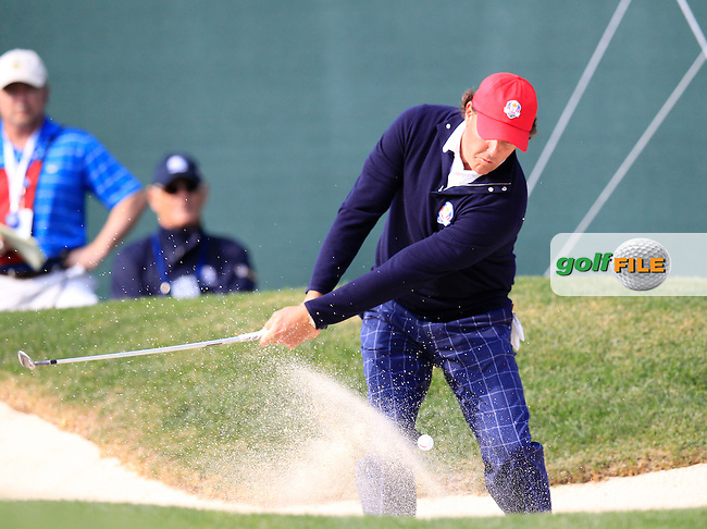 USA's Phil Mickelson chips from a bunker at the 10th hole during Friday's Morning Foursomes Matches of the 39th Ryder Cup at Medinah Country Club, Chicago, Illinois 28th September 2012 (Photo Eoin Clarke/www.golffile.ie)