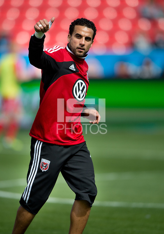 05 May 2012: D.C. United midfielder Dwayne De Rosario #7 acknowledges the crowd during the warm-up in an MLS game between DC United and Toronto FC at BMO Field in Toronto..D.C. United won 2-0.