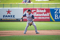 Scooter Gennett (5) of the Colorado Springs Sky Sox on defense against the Salt Lake Bees in Pacific Coast League action at Smith's Ballpark on May 24, 2015 in Salt Lake City, Utah.  (Stephen Smith/Four Seam Images)